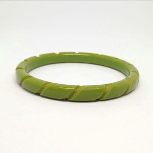 Vintage Lucite Carved  Bangle